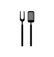 bbq barbecue tools black simple silhouette meat vector image