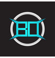 bd logo monogram with circle and four taper shape vector image vector image