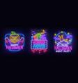 big set neon billboard theme happy halloween vector image