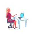 blonde businesswoman using laptop at workplace vector image