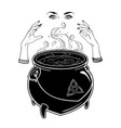 boiling magic cauldron and witch hands vector image