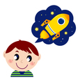 boy dreaming about rocket vector image vector image