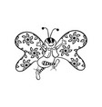 butterfly dancing outlined cartoon handrawn vector image