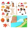 Canada icons set cartoon style vector image