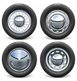 car tires with chrome disks vector image vector image