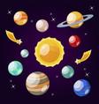 cartoon color solar system element icon set vector image vector image