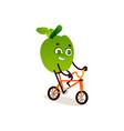 cartoon orange in headphones jogging vector image vector image