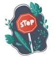 cartoon road sign stop vector image vector image