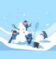 children build snowman in winter vector image vector image