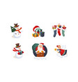 collection of christmas objects cute bright new vector image