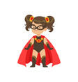 comic brave girl kid in superhero black costume vector image vector image