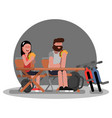 couple on camping with bikes vector image