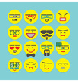 cute colorful circle emoticons set vector image vector image