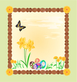 Daffodil and easter eggs with butterfly frame vector image vector image