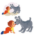 dog licked his tongue in the nose of the vector image vector image
