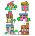 doodle of house set colorful collection vector image vector image