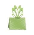 drawing gift box green bow ornament vector image vector image