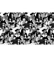 epidemic virus people medical masks crowd black vector image