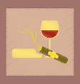 flat shading style icon cigar glass of wine vector image vector image