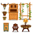 furniture for interior of the hut of a forester or vector image vector image