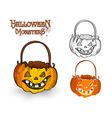 Halloween monster pumpkin lantern EPS10 file vector image vector image