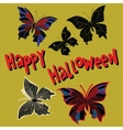 Happy Halloween set night butterflies dead vector image