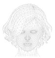 low poly head wireframe a girl with a short vector image vector image