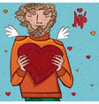 Man holds heart vector image vector image