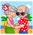 old couple on an island vacation vector image vector image