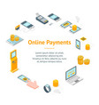 online payments signs 3d banner card circle vector image vector image