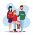 parents couple and daughters with december clothes vector image