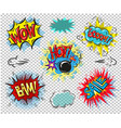 retro comic empty speech bubbles set on colorful vector image