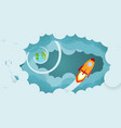 rocket and smoke through cloud business startup vector image