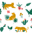 seamless pattern with leopards and tropical leaves vector image
