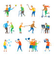 senior people having fun together selfie party vector image vector image