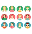 set of girls and young women avatars vector image