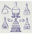 Sketch of science lab equipment vector image vector image