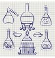 sketch science lab equipment vector image vector image