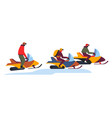 snowmobile tour on winter snowy slopes on white vector image vector image