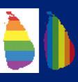 spectrum pixel dotted sri lanka island map vector image