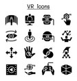 vr virtual technology icon set vector image