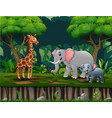 wild animals living in jungle vector image vector image