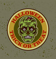 zombie head round colored emblem badge vector image vector image