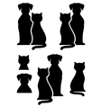 isolated dog and cat silhouette vector image