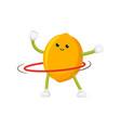 flat lemon character hula hoop exercise vector image