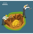 Bitcoin mining isometric flat concept vector image vector image