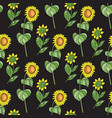 black floral seamless pattern sunflower vector image vector image