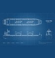 blueprint of cargo ship on white background vector image