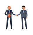 businessmen handshake flat two young standing vector image