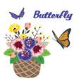 butterfly basket full of flower white background v vector image